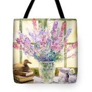 Lupins On Windowsill Tote Bag by Julia Rowntree