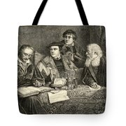 Luther Melancthon Pomeranus And Cruciger Translating  Tote Bag by English School