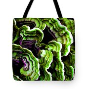 Macro Saprophyte In Green Tote Bag by Bill Caldwell -        ABeautifulSky Photography