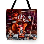 Madness In The Hatter's Realm Tote Bag by Putterhug  Studio