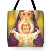 Madonna and Baby Jesus Tote Bag by Zorina Baldescu