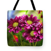 Magenta Flowers Tote Bag by Chuck Staley