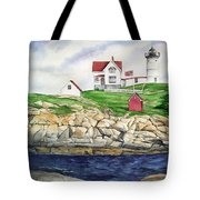 Maine Lighthouse Watercolor Tote Bag by Michelle Wiarda