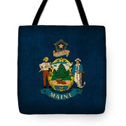 Maine State Flag Art On Worn Canvas Tote Bag by Design Turnpike