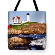 Maine's Nubble Light Tote Bag by Mitchell R Grosky