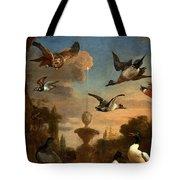 Mallard Golden Eagle Wild Fowl In Flight Tote Bag by Melchior de Hondecoeter