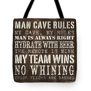 Man Cave Rules 1 Tote Bag by Debbie DeWitt