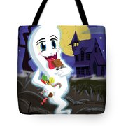 Manga Sweet Ghost At Halloween Tote Bag by Martin Davey