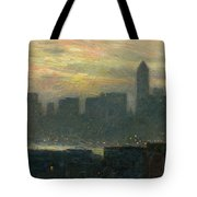 Manhattans Misty Sunset Tote Bag by Childe Hassam
