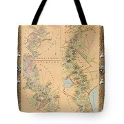 Map Depicting Plantations On The Mississippi River From Natchez To New Orleans Tote Bag by American School