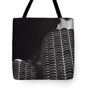 Marina City Morning B W Tote Bag by Steve Gadomski