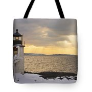 Marshall Point Lighthouse In Winter Maine  Tote Bag by Keith Webber Jr