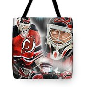 Martin Brodeur Collage Tote Bag by Mike Oulton