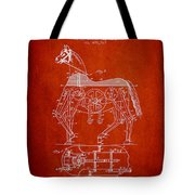 Mechanical Horse Patent Drawing From 1893 - Red Tote Bag by Aged Pixel