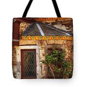 Medieval Window And Rose Bush In Germany Tote Bag by Greg Matchick