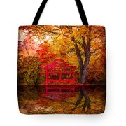 Meet Me At The Pond Tote Bag by Debra and Dave Vanderlaan