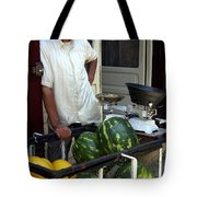 Melon Seller Old Medina Fez Morocco Tote Bag by Ralph A  Ledergerber-Photography
