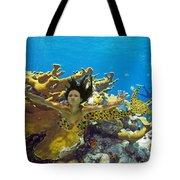 Mermaid Camoflauge Tote Bag by Paula Porterfield-Izzo