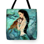 Mermaid Mother And Child Tote Bag by Shijun Munns