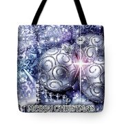 Merry Christmas Blue Tote Bag by Mo T