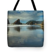 Meyers Creek Sea Stack Blues Tote Bag by Adam Jewell
