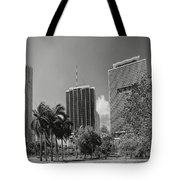 Miami Cityscape  Bw Tote Bag by Rudy Umans