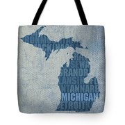 Michigan Great Lake State Word Art On Canvas Tote Bag by Design Turnpike