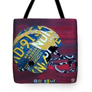 Michigan Wolverines College Football Helmet Vintage License Plate Art Tote Bag by Design Turnpike