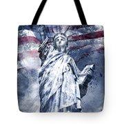 Modern Art Statue Of Liberty Blue Tote Bag by Melanie Viola