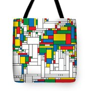 Mondrian World Map Tote Bag by Gary Grayson