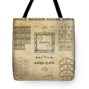 Monopoly Board Game Aged Patent Art  1935 Tote Bag by Daniel Hagerman