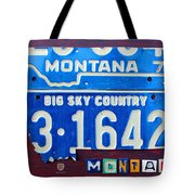 Montana License Plate Map Tote Bag by Design Turnpike
