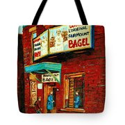 Montreal Bagel Factory Famous Brick Building On Fairmount Street Vintage Paintings Of Montreal Tote Bag by Carole Spandau