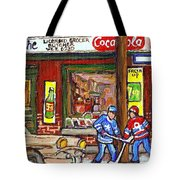Montreal Hockey Paintings At The Corner Depanneur - Piche's Grocery Goosevillage Psc Griffintown Tote Bag by Carole Spandau
