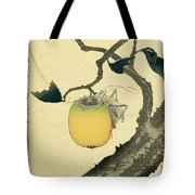 Moon Persimmon And Grasshopper Tote Bag by Katsushika Hokusai