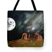 Moonrise Over Sedona Tote Bag by John Lyes