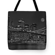 Moonrise Over The Brooklyn Bridge BW Tote Bag by Susan Candelario