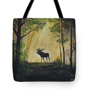 Moose Magnificent Tote Bag by Leslie Allen