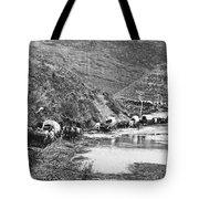 Mormon Emigrant Conestoga Caravan 1879 - To Utah Tote Bag by Daniel Hagerman