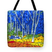 Mosaic Stained Glass - My Woods Tote Bag by Catherine Van Der Woerd