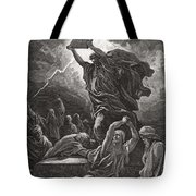 Moses Breaking The Tablets Of The Law Tote Bag by Gustave Dore