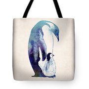 Mother And Baby Penguin Tote Bag by World Art Prints And Designs