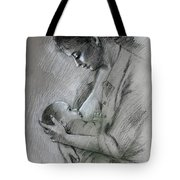 Mother And Baby Tote Bag by Viola El
