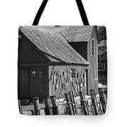 Motif Number One Bw Black And White Rockport Lobster Shack Maritime Tote Bag by Jon Holiday