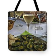 Moules And Chardonnay Tote Bag by Allen Sheffield