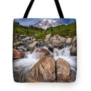 Mount Rainier Glacial Flow Tote Bag by Adam Romanowicz