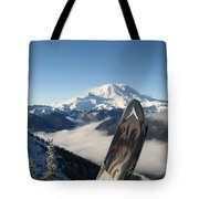Mount Rainier Has Skis Tote Bag by Kym Backland