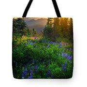 Mount Rainier Sunburst Tote Bag by Inge Johnsson
