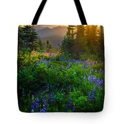 Mount Rainier Sunburst Tote Bag by Inge Johnsson