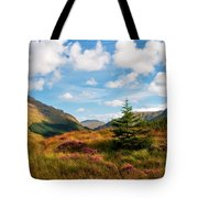Mountain Pastoral. Rest And Be Thankful. Scotland Tote Bag by Jenny Rainbow